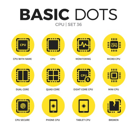 CPU flat icons vector set
