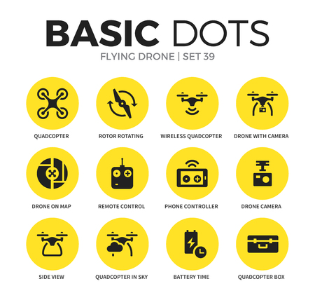 collins: Flying drone flat icons vector set