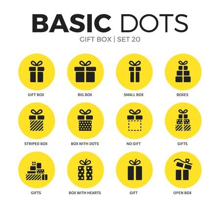 giftware: Gift box flat icons vector set Illustration