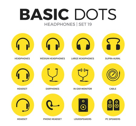 Headphones flat icons vector set