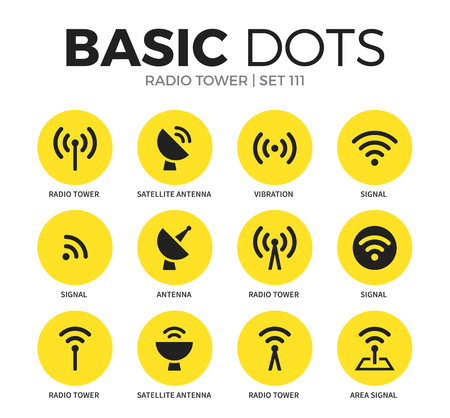 cell phone transmitter tower: Radio tower flat icons vector set