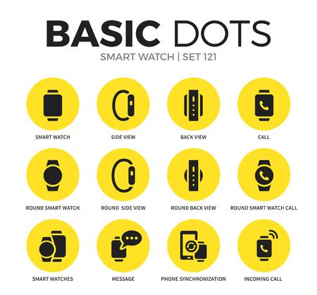 スマートな腕時計フラット アイコン ベクトルを設定