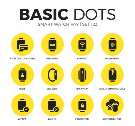 スマートな時計有料フラット アイコン ベクトルを設定  イラスト・ベクター素材