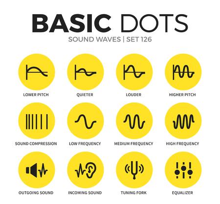音の波のフラット アイコン ベクター セット