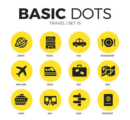 旅行フラット アイコン ベクトルを設定  イラスト・ベクター素材