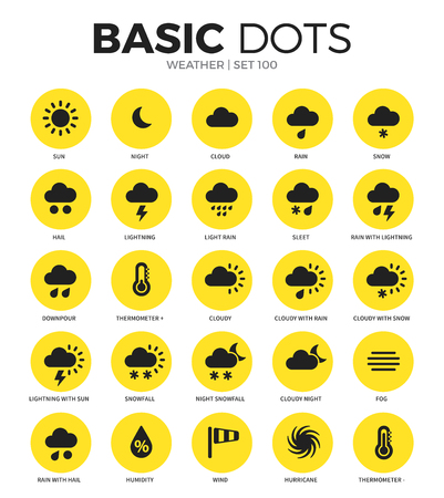 Weather flat icons vector set