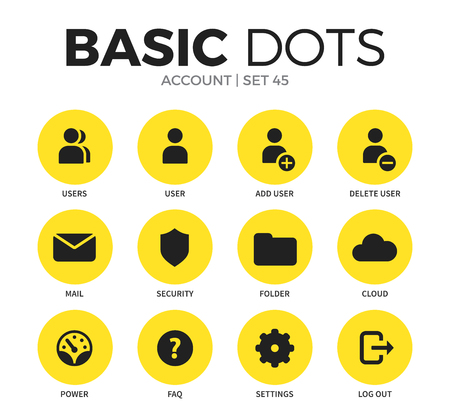 Account flat icons set with users isolated vector illustration on white