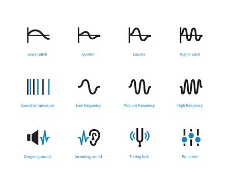 Music and audio types duotone icons on white background. Illustration