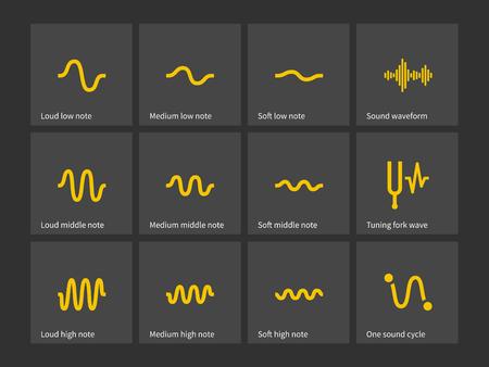 音の波型のアイコンです。ベクトルの図。