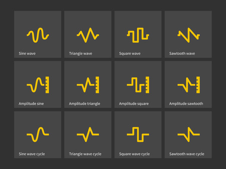 Sine, Triangle, Square, Sawtooth wave types icons.