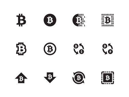 白い背景にビットコインアイコン。ベクトルイラスト。  イラスト・ベクター素材