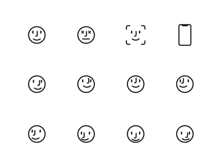 User Face line icons on white background. Vector illustration.
