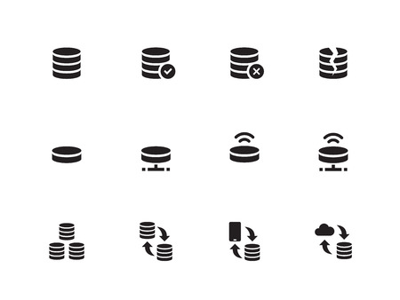 Server icons on white background. Vector illustration.