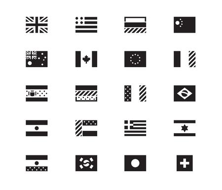 World Flag icons on white background. Vector illustration.