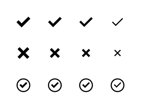 Different sizes of Check Mark icons  イラスト・ベクター素材