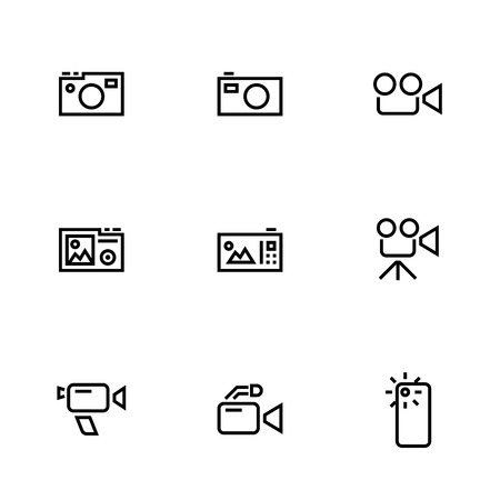 Digital, Movie, Retro and Phone Camera outline vector icons isolated on white