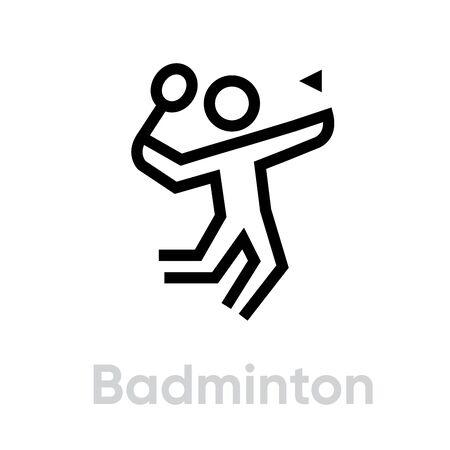 Badminton sport icons. Editable stroke