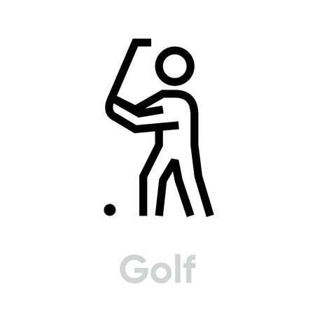 Golf player sport icons. Editable stroke Illusztráció
