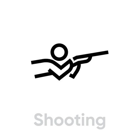Shooting sport icons. Editable stroke