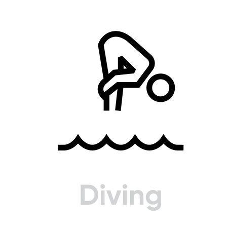 Diving sport icons Illustration
