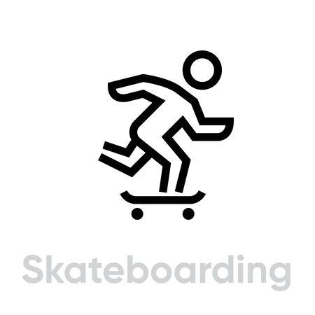 Skateboarding sport icons Illustration
