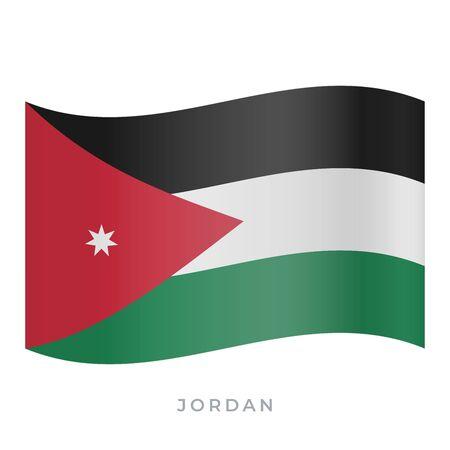 Jordan waving flag vector icon. National symbol of Jordan. Vector illustration isolated on white.