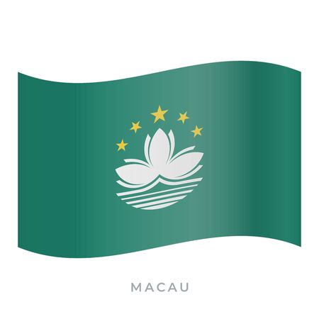 Macau waving flag vector icon. National symbol of Macau. Vector illustration isolated on white. Illustration