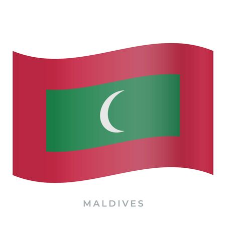 Maldives waving flag vector icon. National symbol of Maldives. Vector illustration isolated on white.