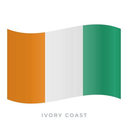 Ivory Coast waving flag vector icon. National symbol of Ivory Coast. Vector illustration isolated on white.