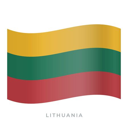 Lithuania waving flag vector icon. National symbol of Lithuania. Vector illustration isolated on white.