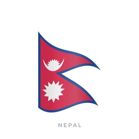 Nepal waving flag vector icon. National symbol of Nepal. Vector illustration isolated on white. Иллюстрация