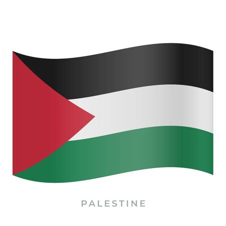 Palestine waving flag vector icon. National symbol of Palestine. Vector illustration isolated on white.