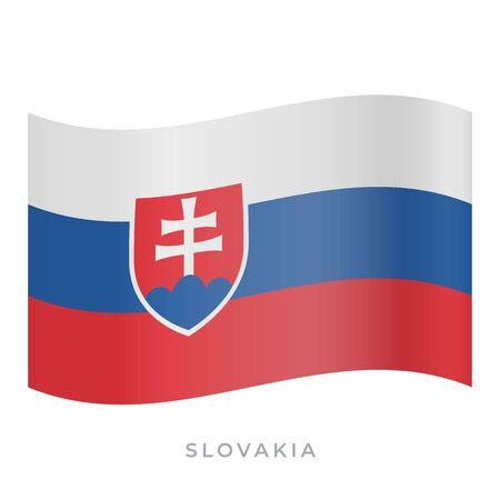 Slovakia waving flag vector icon. National symbol of Slovakia. Vector illustration isolated on white.