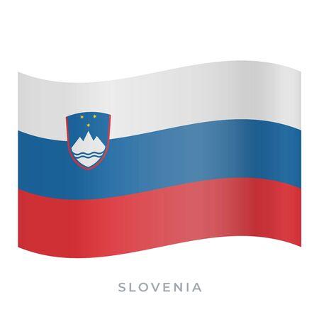 Slovenia waving flag vector icon. National symbol of Slovenia. Vector illustration isolated on white. 向量圖像