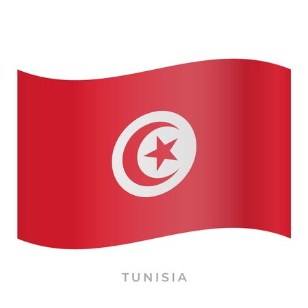Tunisia waving flag vector icon. Vector illustration isolated on white.