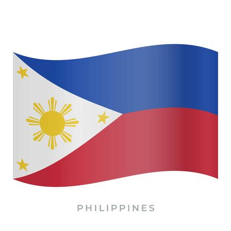 Philippines waving flag vector icon. National symbol of Philippines. Vector illustration isolated on white.