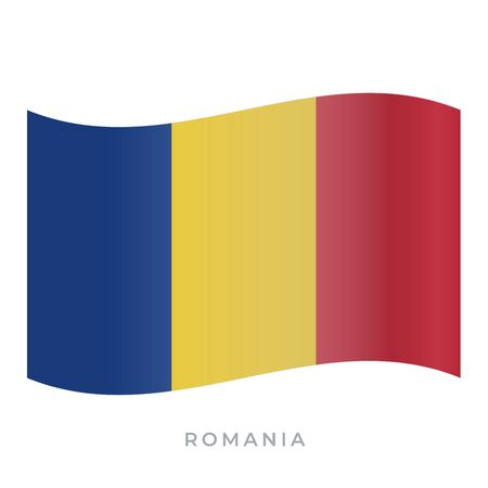 Romania waving flag vector icon. National symbol of Romania. Vector illustration isolated on white. Ilustracja