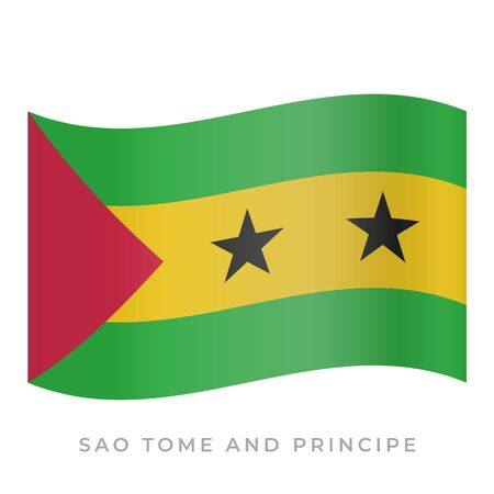 Sao Tome and Principe waving flag vector icon. Vector illustration isolated on white.