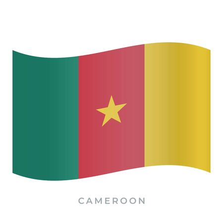 Cameroon waving flag vector icon. National symbol of Cameroon. Vector illustration isolated on white. Ilustração