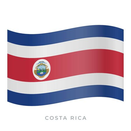 Costa Rica waving flag vector icon. National symbol of Costa Rica. Vector illustration isolated on white.