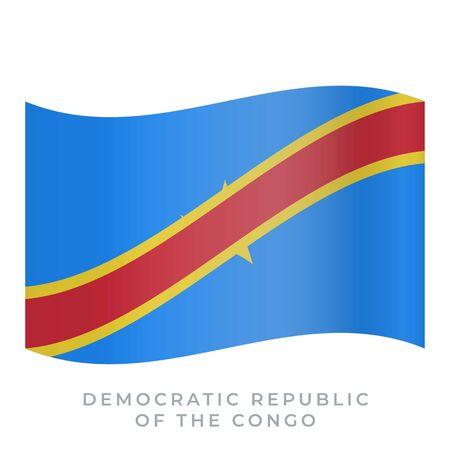 Democratic Republic of the Congo waving flag vector icon. National symbol of Democratic Republic of the Congo. Vector illustration isolated on white.