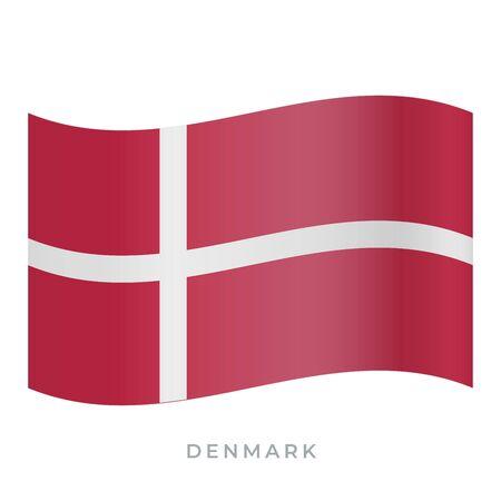 Denmark waving flag vector icon. National symbol of Denmark. Vector illustration isolated on white.