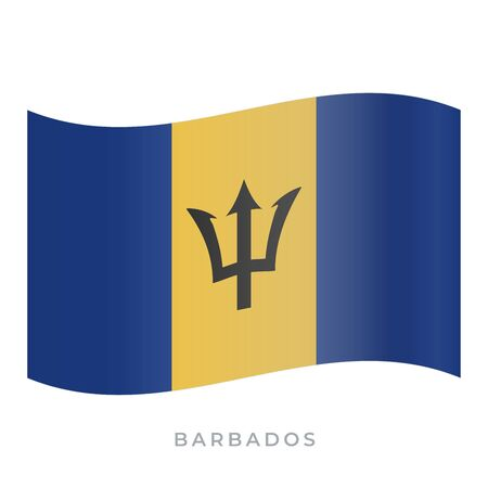 Barbados waving flag vector icon. National symbol of Barbados. Vector illustration isolated on white.