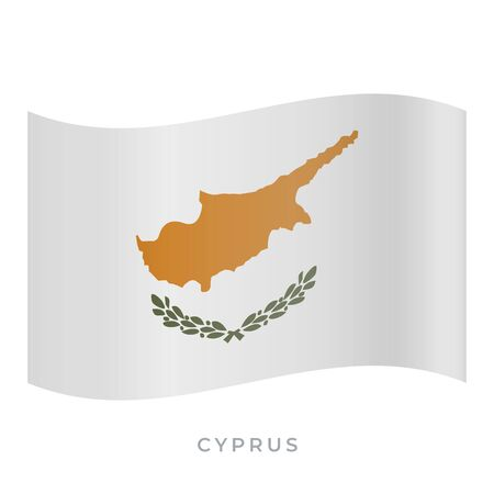 Cyprus waving flag vector icon. National symbol of Cyprus. Vector illustration isolated on white. Ilustracja