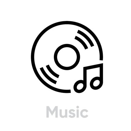 Vinyl and Music Note icon Illustration
