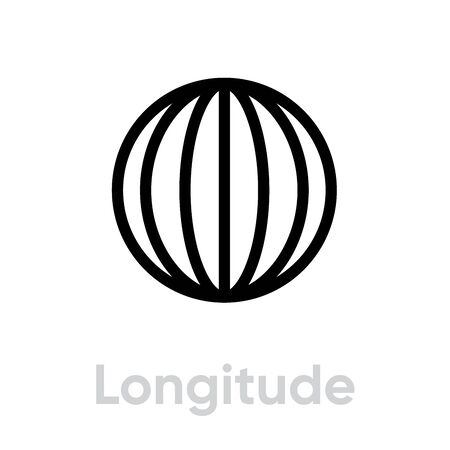 Longitude from pole to pole Meridians icon