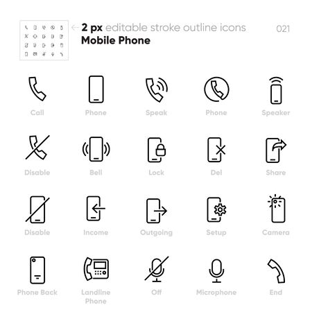 Mobile Phone outline vector icons. Call, Speaker, Bell, Camera