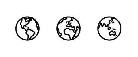 America, Europe, Africa, Asia sides of the Planet icons