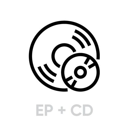 Vinyl EP plus CD records icon. Editable stroke