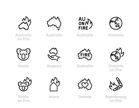 Support Australia on Fire vector icons. Donate for Australia, Koala, Oceania. Editable line on white